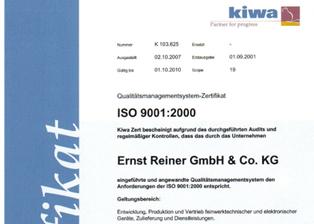 Certificare REINER ISO 9001:2000